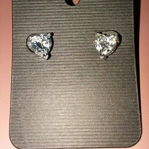 2 CTW Heart Shaped White Sapphire Stud Earrings